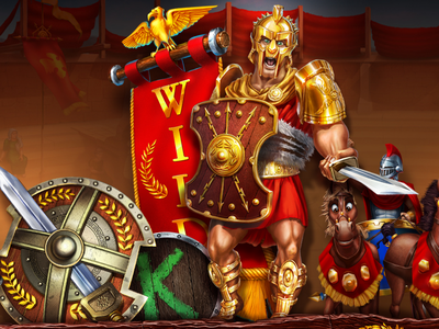 gladiator animation chariot shield eagle horse casino cartoon sword arena battle coliseum wild slot gladiator rome illustration illustrations slotopaint.com
