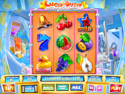 Lucky Ducky lemon orange cherry fruits luck environment duck bathroom reels character 3d animation slot symbols casino