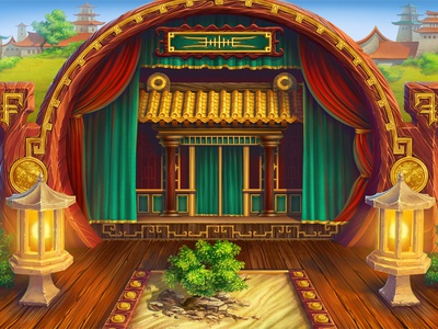 "Peking Opera background for ""Face Off"" slot machine"