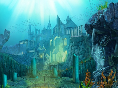 """Atlantis"" background for themed slot game"