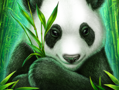 """Panda Paradise"" logo for themed-slot machine"