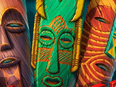 Masks game development faces ropes game art casino wooden shells artist slot machine spirits design scatter symbol design game african slot design illustration slotopaint.com ornament masks