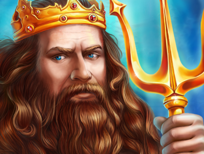Neptune illustraion slot game king game art character design trident beard game design fairytale sea slotopaint.com slot design crown gold underwater artist artwork digital art mermaid neptune