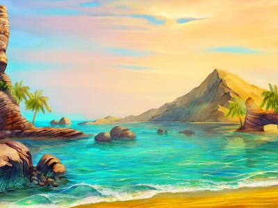 Surf game art skyline slot machine surf vanilla digital designer artist palms rocks sunset background casino slot design beach stones digital art slotopaint.com illustration ocean coast