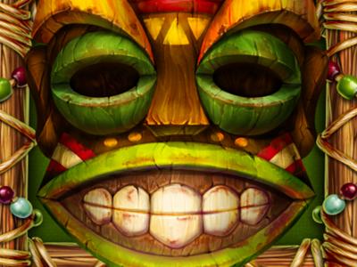 Green Tiki illustraion hawaiian game development game art symbol design spirits faces casino wooden illustration slotopaint.com slot design artist masks ropes digital artist digital art wood artwork tiki