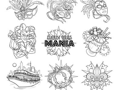 "The Sketches for Slot's Symbols ""Mardi Graz"""