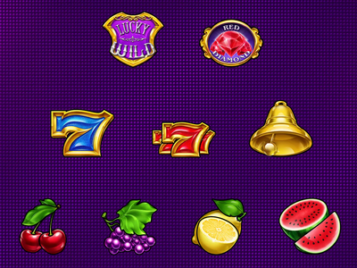 "Animated symbols set for slot ""Red Diamond"" 777 dailyart 2d animation game dev game artist digital art wild diamond symbols icons game art slot machine illustration slotopaint watermelon lemon grape cherry lucky seven bell"