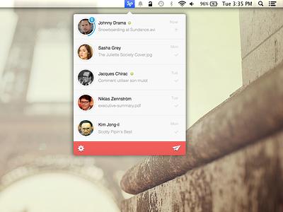 Infinit for Mac infinit mac app menu bar mac file transfer