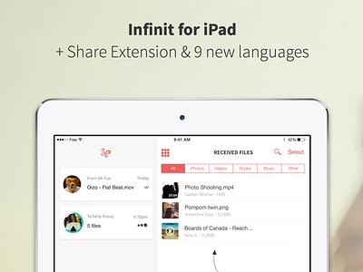 Infinit for iPad p2p ios app file transfer ipad app ipad infinit