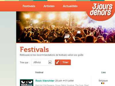 Music festivals recommandations