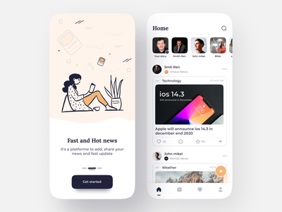 News Reporter App designer deisgn uiuxdesign uiux ios illustraion news app art 3d art 3d ui flat branding logo app illustration clean design app design concept