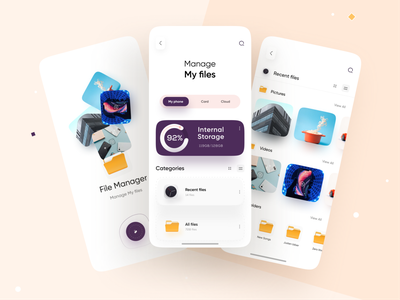 file manager App yellow artwork illustration creative 3d flat design app mobile ui clean minimal dashboard app files storage app charts analytics file management file manager app file manager