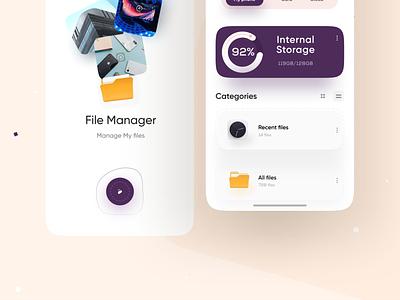 file manager App yellow artwork illustration creative 3d flat design app mobile ui clean minimal dashboard app files storage app charts analytics file management file manager app file manager