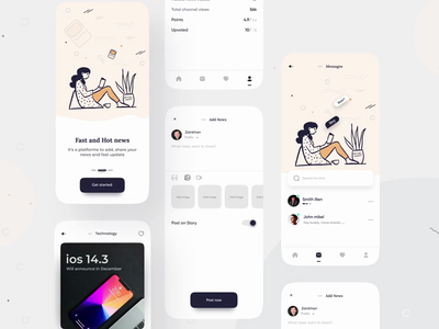 News App UI 3d art creative aftereffects concept magzine animation clean ui clean card ux uiux ui newsfeed feed home news app blog post blogging