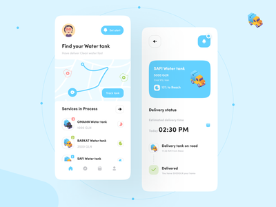 Water Delivery App UI Concept colors vehicles 3d illustration flat illustration flat tracking app track minimal clean water app water delivery status mobile design app delivery delivery service delivery truck delivery app
