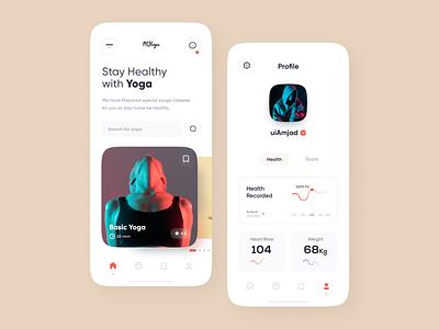 Yoga app ui graphic colors health app health training app training girl yoga yoga app mobile art mobile app design concept uiux illustration app design minimal clean app