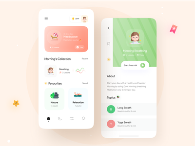 Stress Relaxation App creative courses music green minimal anxiety illustration yoga meditation app app uiux ui relaxation relaxing app calming app chill chilling stress relief mindful