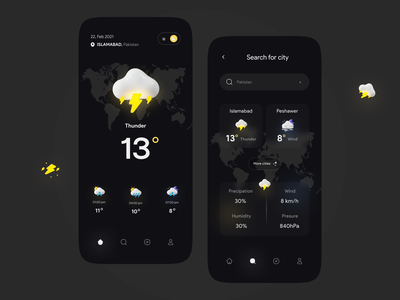 Weather app time flat sunny rainy uidesign piqo minimal icon icons vector dark illustration ui app mobile concept weathered weather forecast weather app weather