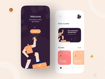 Drawer team task web mobile ui design activity task management tasks animated animation 2d illustration flat design app design ui mobile app flat uiux concept illustration minimal clean app