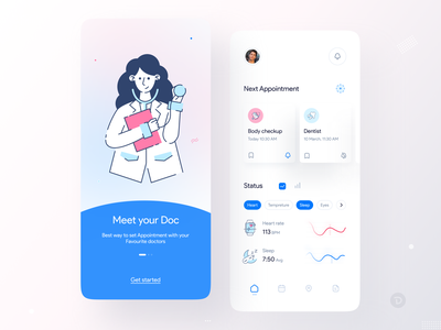 Medical App UI with Dr Vector health care app medical design branding vector app design mobile app flat illustration ux ui minimal clean design health care medical medical app appointment doctor app health app healthy