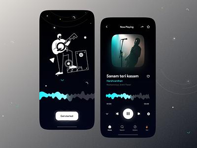 Music app UI podcast playlist music app beatmaker artist song play music player music player app mobile interface minimal clean simple application mobile ux ui music beats profile