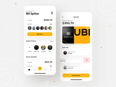 Bill Split App UI design white home ux uiuxdesign clean ui bill split creative art card mobile app 3d design app design uiux concept ui illustration minimal app clean