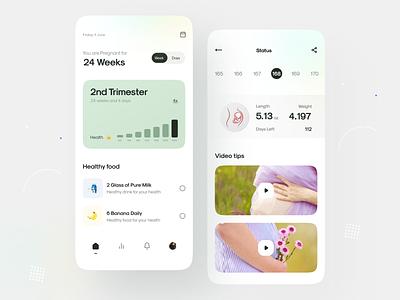 Pregnancy Tracker app UI design 🤰🏻 colors healthy food calendar period tracker fitness app health app yoga app courses video tasks tracker pregnancy app pregnancy design uiux ui app minimal clean