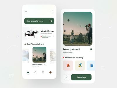 Shop and Travel ⛺️ products cards clean design mountain mobile app concept uiux illustration app minimal clean branding travel app ui shopping shop design travel