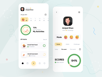 Habit tracking App UI Concept ui concept design clean minimal activity health habits piqo habit tracking app tracking app habitat task management uiux app cuberto daily tracker habit productive