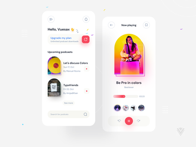 Podcast App Concept UI uiux concept clean podcast app branding minimalist ui podcast podcasting podcasts music app live streaming player spotify product product design