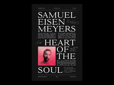 Poster for Samuel Eisen Meyers typography layout music poster