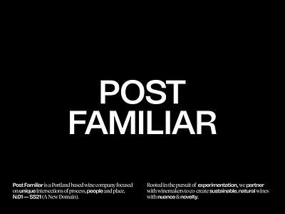 Post Familiar Wine wine website typography