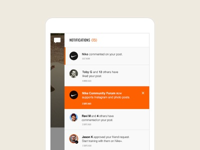 Nike Community nike tablet notifications social off canvas