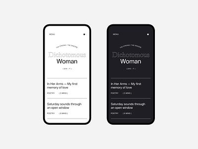 Dichotomous Woman branding editorial portfolio copywriting typography layout website