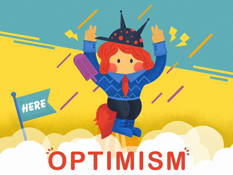Optimism colorful character dribbble design warm illustration