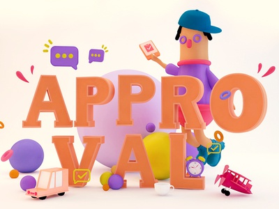 Approvel 3d c4d red designs charity character dribbble design illustration