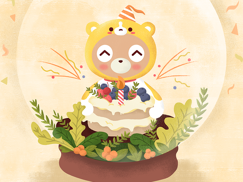 Happy birthday dribbble birthday orange character design illustration