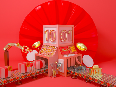 China National Day red warm c4d design dribbble