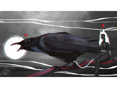 The raven queen concept fansty concept art creative illustration