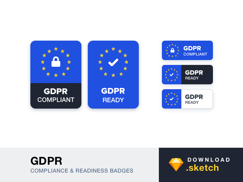 GDPR - Compliance and Readiness Badges regulation protection data general badge sketch resources free freebie gdpr