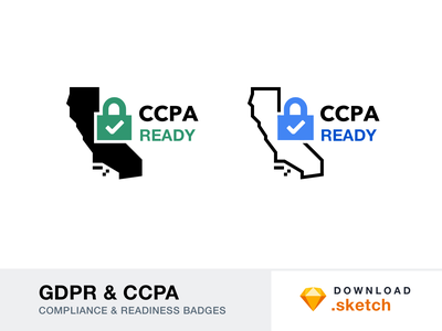 GDPR & CCPA - Compliance and Readiness Badges logo illustration graphic icon free resources freebie compliance badge europe california ccpa gdpr