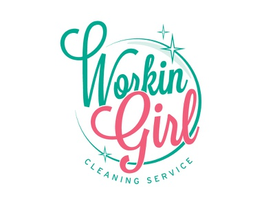 Workin Girl Logo cleaning bubble pink service logo sparkles playful clean