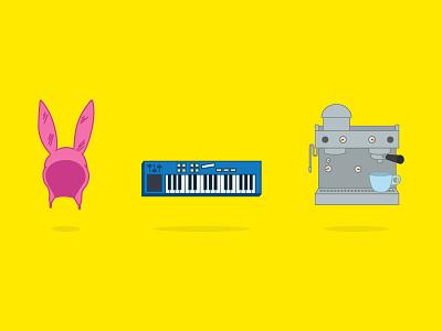 Bob's rite showlouise gene tina ears keyboard espresso yellow fun monday tv bobs burgers favo