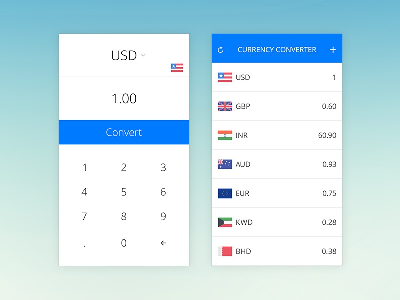 Currency Converter For Ios Ios7 Iphone Ui Design Mobile Interface Clean Simple