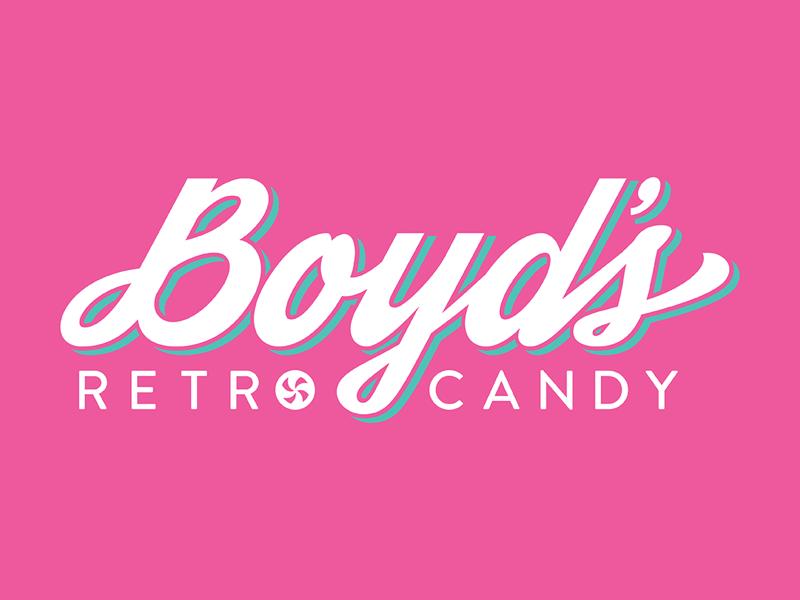 Boyd's Retro Candy Logo fun script modern teal pink throwback retro icon typography wordmark logo vector candy