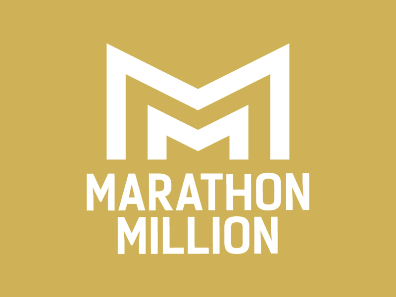 Marathon Million Logo logodesign white gold branding money debt typography icon logo
