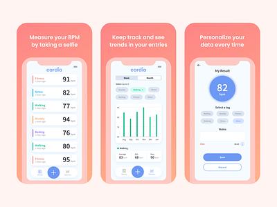 Cardia.ai - Heartbeat Measurement App artificial intelligence ai bpm heart measurement health app healthcare health design app ui