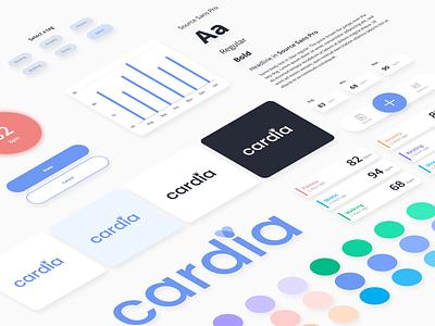 Cardia.ai Design System visual identity color scheme style guide colorful design system design systems logo health app