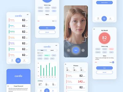 Heart rate monitor app - Cardia.ai selfie camera app color scheme colorful bpm health app