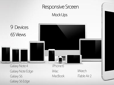 Smart Screen Devices Mock Up Pack ipad mini galaxy note edge ipad mock up macbook iwatch ipad air 2 galaxy s6 edge iphone 6 plus iphone 6